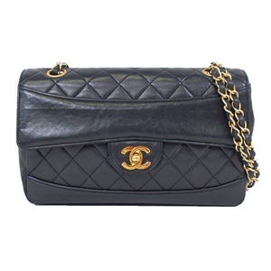 Auth Chanel Matelasse W-chain Shoulder Bag Leather am93
