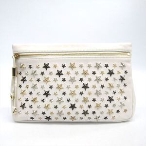 Jimmy Choo ZENA Leather Clutch Bag White