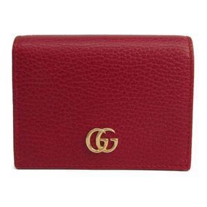グッチ(Gucci) レザー カードケース レッド プチ マーモント 456126