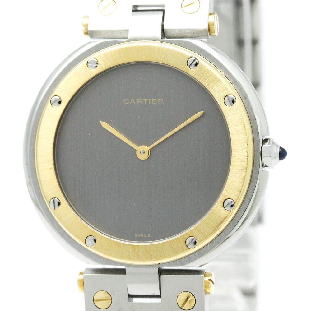 Cartier Santos Round Quartz Yellow Gold (18K),Stainless Steel Men's Dress Watch -