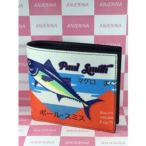 Paul Smith 873391 Red Tuna V212 Unisex Leather Bill Wallet (bi-fold) Blue,Red,White