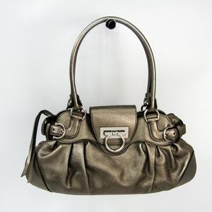 Salvatore Ferragamo Gancini AU-21 6317 Women's Leather Tote Bag Bronze
