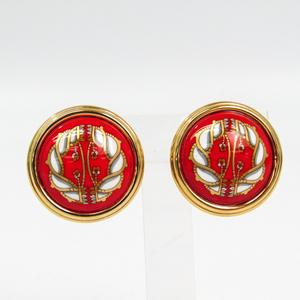 エルメス(Hermes) 七宝焼き / エナメル クリップイヤリング ゴールド,レッド