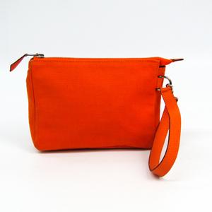 Hermes Women's Canvas Pouch Orange