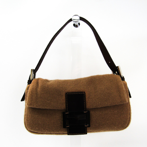 Fendi Baguette 26424 Women's Knit Leather Shoulder Bag Brown