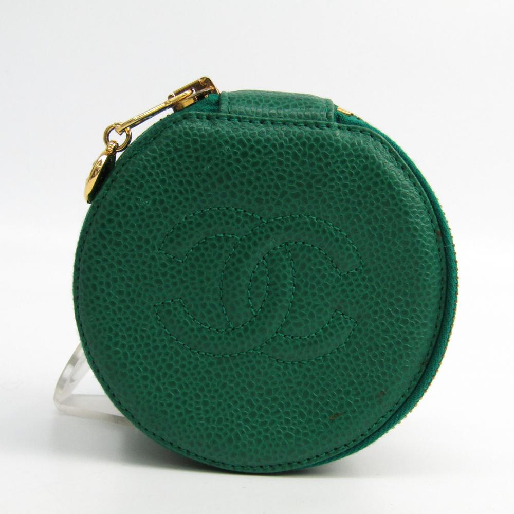シャネル(Chanel) ジュエリーケース グリーン キャビアスキン