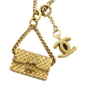 シャネル(Chanel) ココマーク マトラッセ バッグチャーム ネックレス (シャンパンゴールド)