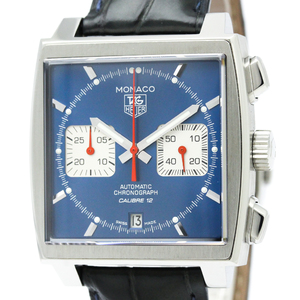 【TAG HEUER】タグホイヤー モナコ クロノグラフ ステンレススチール レザー 自動巻き メンズ 時計 CAW2111