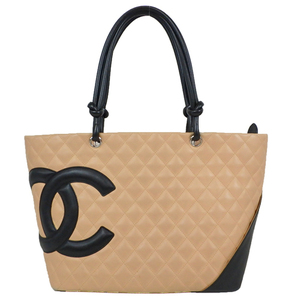 Chanel Ligne Cambon A25169 Women's Leather Cambon Ligne Tote Bag Beige,Black