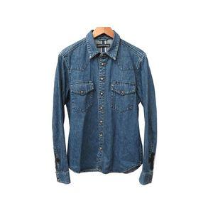 Men's Western Shirt M Blue
