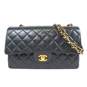 Auth Chanel Matelasse Wchain Wflap Shoulder Bag Black