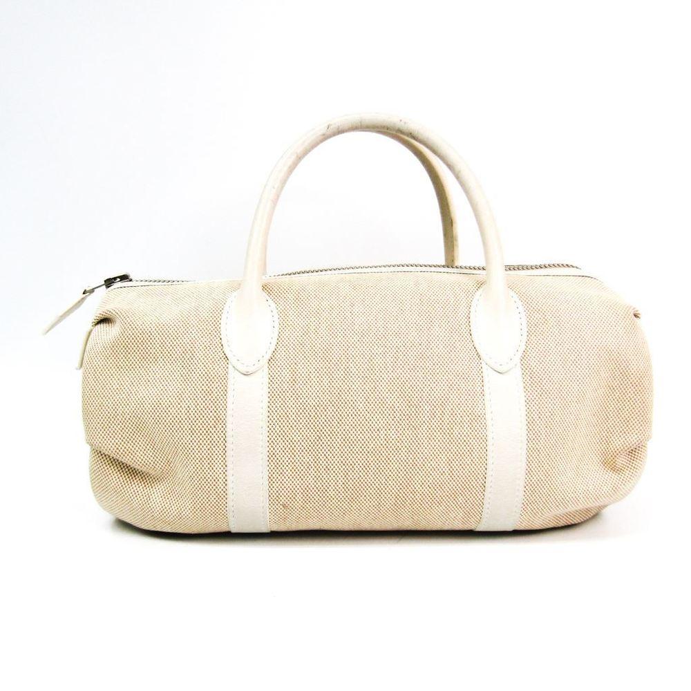 Hermes Polochon Mademoiselle Women's Toile H Leather Handbag Ivory