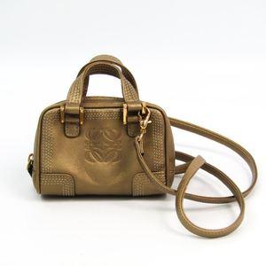 Loewe Micro Mini Amazona 160.82.038 Women's Leather Pochette Metallic Beige