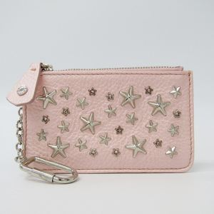 Jimmy Choo Nancy Women's Leather,Metal Coin Purse/coin Case Pink,Silver