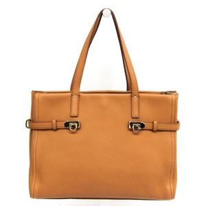 Salvatore Ferragamo Gancini 21 F074 Women's Leather Tote Bag Camel