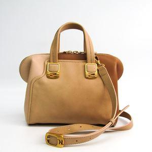 Fendi Chameleon Chameleon Mini 8BL117 Women's Leather Shoulder Bag Beige,Gold
