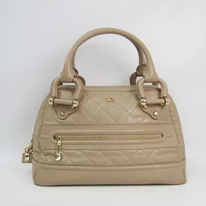 Burberry Women's Leather Boston Bag Beige