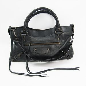 Balenciaga Fast 103208 Women's Leather Shoulder Bag Black