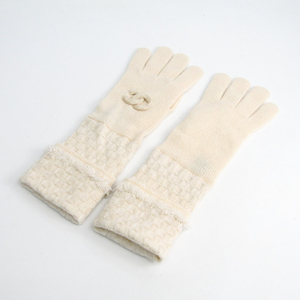 Chanel Coco Women's Long Gloves Off-white Rayon,Cashmere