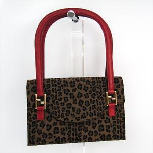 Fendi 258262 Women's Canvas,Leather Handbag Brown,Black,Red