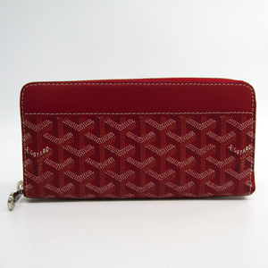 Goyard Matignon Leather,Canvas Long Wallet (bi-fold) Red