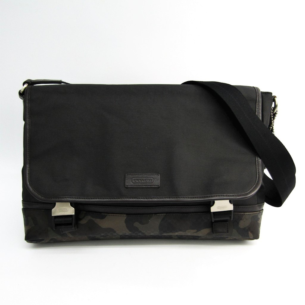 Coach F70941 Men's Coated Canvas,PVC Shoulder Bag Khaki,Black BF322189