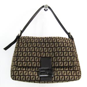 Fendi Zucchino Mamma Baguette 8BR001 Women's Canvas Leather Shoulder Bag Beige,Brown