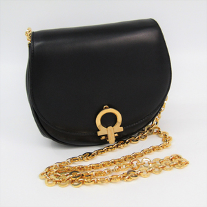 Salvatore Ferragamo Gancini AQ214204 Women's Leather Pochette,Shoulder Bag Black