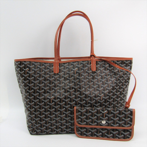 Goyard Saint Louis Saint Louis PM Women's Leather Canvas Tote Bag Black,Brown