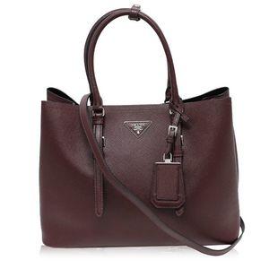 Prada Saffiano Granato 2Way BN2820 Women's Leather Tote Bag Bordeaux