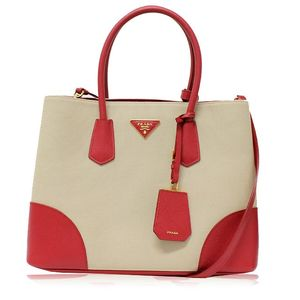 Prada 2Way B2756T Women's Canvas,Leather Tote Bag Beige,Red