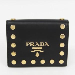 プラダ(Prada) 1MV204 レディース レザー,メタル 財布(二つ折り) ゴールド,ブラック