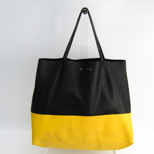 Celine Horizontal Cabas Women's Leather Tote Bag Black,Yellow