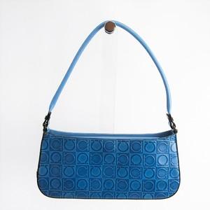 Salvatore Ferragamo Gancini 21 1235 Women's Leather Handbag Blue