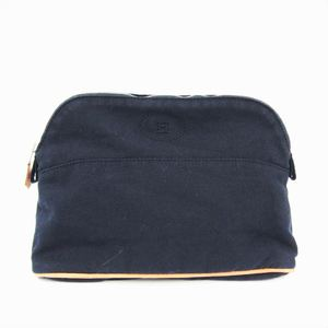 Hermes Bolide MM Women's Cotton,Leather Pouch Navy