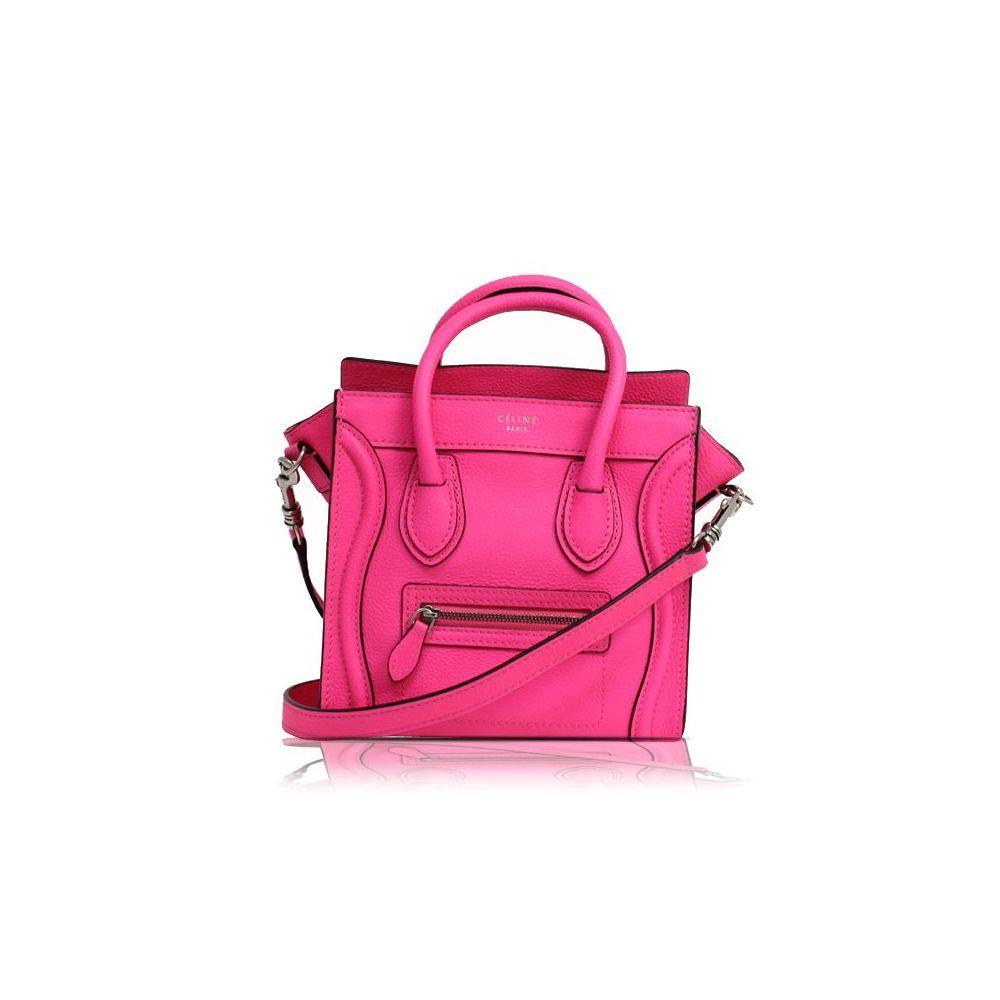 ab2491b0b39d Celine Luggage Nano Shopper 2Way 168243 Women s Leather Shoulder Bag Pink