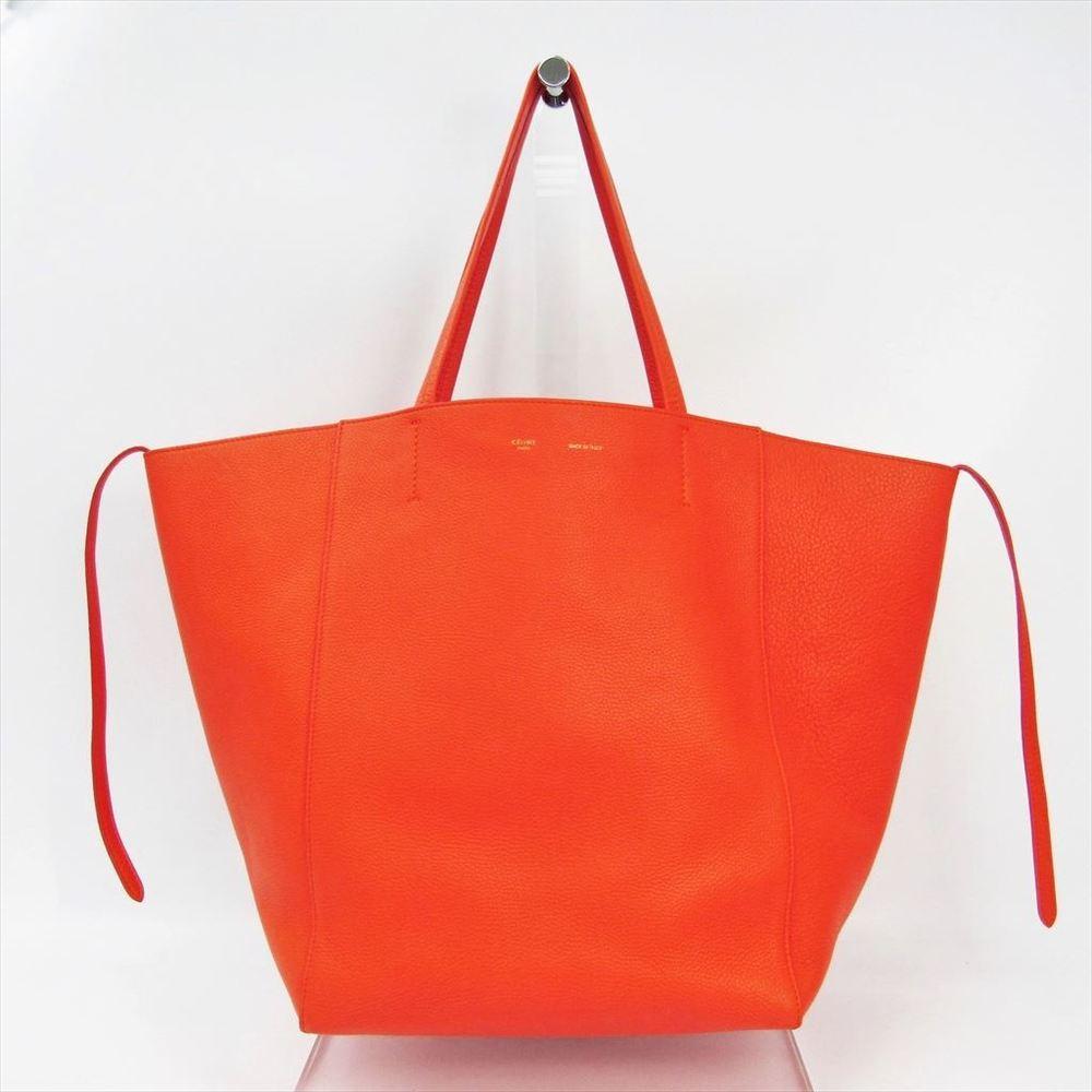 c186d7c2196d Celine Cabas Cabas Phantom Women s Leather Tote Bag Orange
