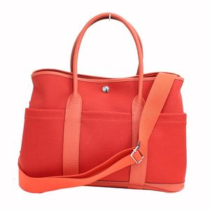 Hermes Garden Party 36 Pockets 2Way Women's Canvas,Country Leather Tote Bag Red