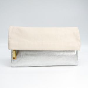 Fendi GRO 8BP062 Women's Leather Clutch Bag Pale Orange,Silver
