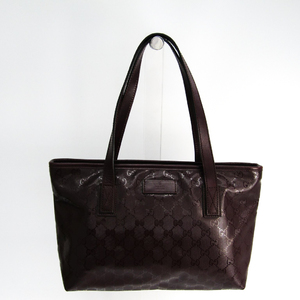 Gucci GG Imprimé 211138 PVC,Leather Tote Bag Brown