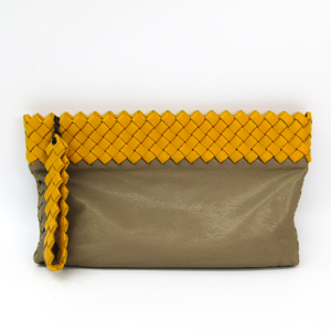 Bottega Veneta Intrecciato Women's Leather Clutch Bag Beige,Yellow