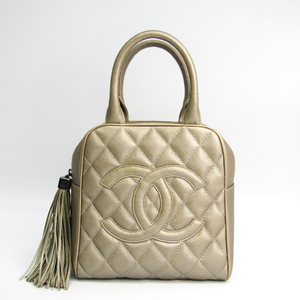 シャネル(Chanel) キャビア・スキン レディース レザー ハンドバッグ メタリックベージュ