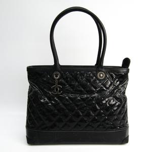 シャネル(Chanel) レザー,コーティングキャンバス トートバッグ ブラック