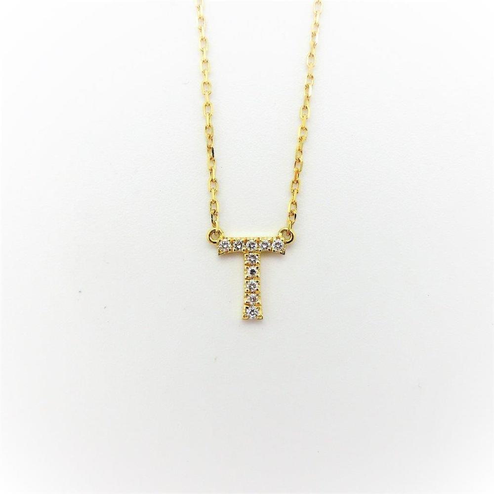 アーカー(AHKAH) イニシャル K18イエローゴールド(K18YG) ダイヤモンド レディース ネックレス カラット/0.04 (イエローゴールド(YG)) 『T』
