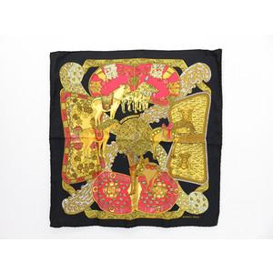 エルメス シルク スカーフ ブラック,オレンジ,イエロー プチカレ 「ART des STEPPES」