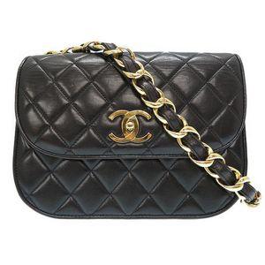 Chanel Women's Leather Shoulder Bag Black