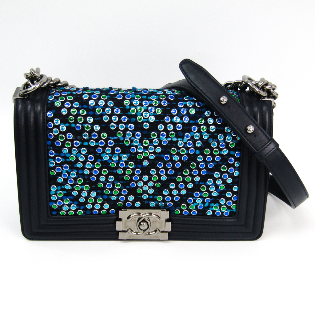 d2b252c83ffe Auth Chanel Boy Chanel Women's Leather,Tweed Studded Shoulder Bag Green ,Blue,Nav
