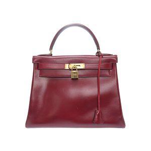 Hermes Kelly Women's Box Calf Leather Handbag Rouge H