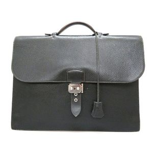 Hermes Sac A Depeche Men's Togo Leather Clutch Bag Black