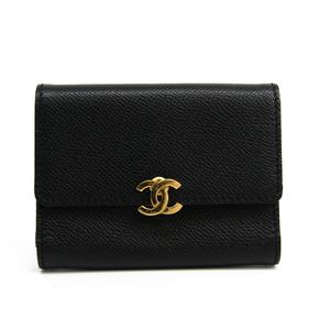 シャネル(Chanel) レザー カードケース ブラック 三つ折り